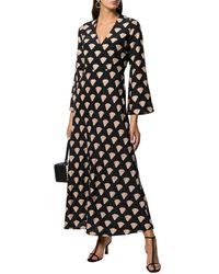 RIXO London 3/4-sleeve Shell Silk Midi Dress - Black