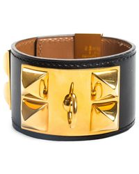 Hermès Black Leather Collier De Chien Cuff Bracelet - Metallic