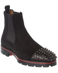 Christian Louboutin Melon Spikes Suede & Leather Boot - Black