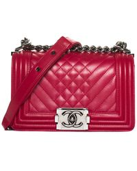 Chanel Red Quilted Lambskin Leather Small Quilted Boy Bag