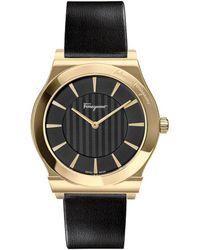 Ferragamo Men's Leather Strap Watch, 41mm - Metallic