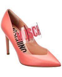Moschino Logo Leather Pump - Pink