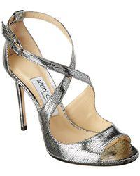 Jimmy Choo Emily 100 Metallic Leather Sandal
