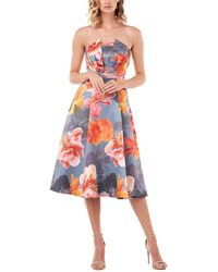 Kay Unger Strapless Lea Printed Mikado Midi Dress - Multicolor