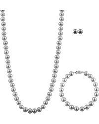 Splendid - Silver 7-7.5mm Freshwater Pearl Bracelet, Earrings, & Necklace Set - Lyst