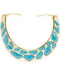 Kenneth Jay Lane - Gold & Turquoise Stone Bib Necklace - Lyst