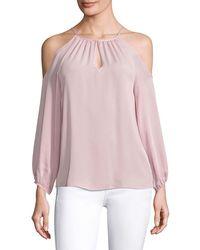 Joie Abdel Silk Cold-shoulder Blouse - Pink