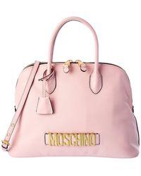 Moschino Logo Leather Satchel - Pink