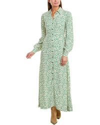 Ganni Button-down Maxi Dress - Green
