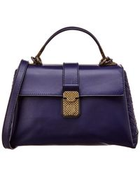 Bottega Veneta Piazza Small Leather Top Handle Tote - Blue