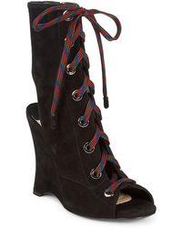Prada Leather Wedge Booties - Black