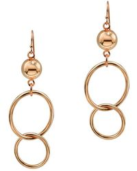 Argento Vivo - 18k Rose Gold Over Silver Ring & Half Bead Drop Earrings - Lyst