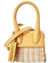 Jacquemus Le Chiquito Mini Straw & Leather Handbag - Metallic
