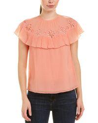 Rebecca Taylor Pinwheel Silk-blend Top - Orange