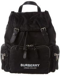 Burberry Medium Logo Print Rucksack - Black