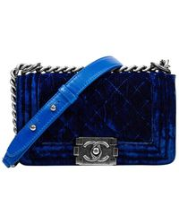 Chanel Limited Edition Royal Blue Quilted Velvet Small Single Flap Boy Bag