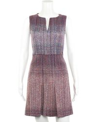 Chanel Multicolored Tweed Knit Dress, Size Fr 36 - Purple