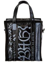 Balenciaga Bazar Xs Graffiti Leather Shopper Tote - Black