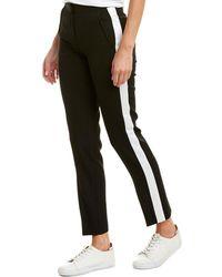 Burberry Straight Fit Silk Stripe Wool Tailored Pants - Black