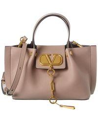 Valentino Garavani Vlogo Escape Small Leather Tote - Pink