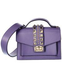 Valentino By Mario Valentino Titti Palmellato Leather Satchel - Purple