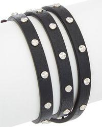 Alexander McQueen Skull Double Wrap Leather Bracelet - Multicolour