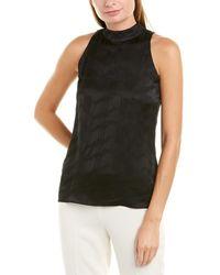 Theory Sleek Silk-trim Top - Black