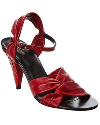 Celine Triangle Heel Twisted Strap Leather & Python Sandal - Red