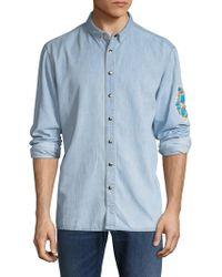 Balmain Accented Cotton Sportshirt - Blue