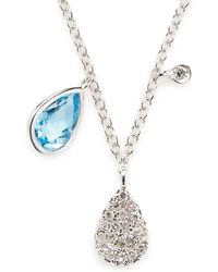 Meira T - Blue Sapphire, Diamond And 14k White Gold Pendant Necklace - Lyst