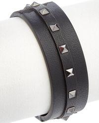 Valentino Garavani Rockstud Leather Bracelet - Black