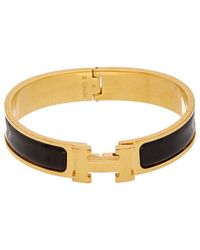 Hermès - Black Enamel Narrow Clic-clac H Bracelet - Lyst