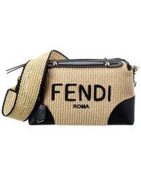 Fendi By The Way Medium Straw & Leather Shoulder Bag - Multicolor