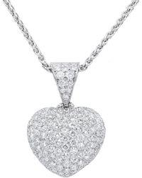Diana M. Jewels . Fine Jewellery 18k 4.80 Ct. Tw. Diamond Heart Necklace - Metallic