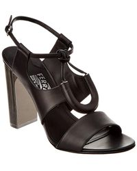 Ferragamo Galilea Leather Sandal - Black