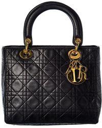 Dior Black Lambskin Leather Medium Lady