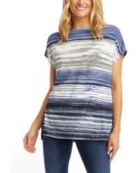 Karen Kane Oversize Boatneck Top - Blue