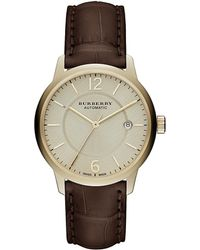 Burberry - Gold & Brown Alligator Leather-strap Watch - Lyst