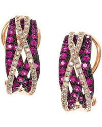 Effy - Ruby, Diamond And 14k Rose Gold Earrings - Lyst