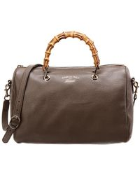 Gucci - Taupe Leather Bamboo Boston Bag - Lyst