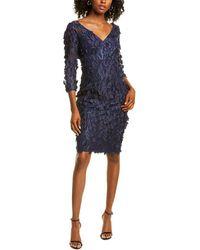 Carmen Marc Valvo Floral Applique Sheath Dress - Blue