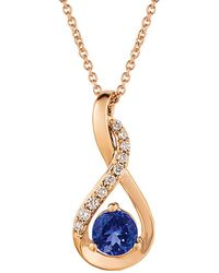 Le Vian A? 14k Rose Gold 0.58 Ct. Tw. Diamond & Tanzanite Necklace - Blue