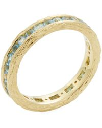 elizabeth showers 18k yellow gold u0026 swiss blue topaz birch channel stack ring lyst