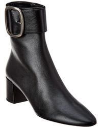 Saint Laurent Joplin 50 Leather Bootie - Black