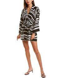 Donna Karan Tie-front Linen Mini Dress - Black