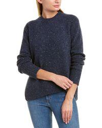 Vince Asymmetrical Wool-blend Jumper - Blue
