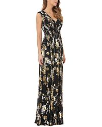 Kay Unger V-neck Foiled Chiffon Dress W/ Smocked Waist - Black