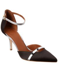Malone Souliers Booboo 70 Satin & Leather Pump - Black