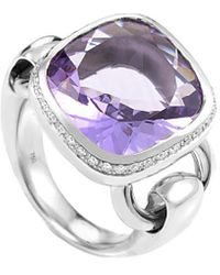 Poiray 18k 0.26 Ct. Tw. Diamond & Amethyst Ring - Metallic