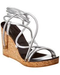 Jimmy Choo Allis 95 Leather Wedge Sandal - Metallic
